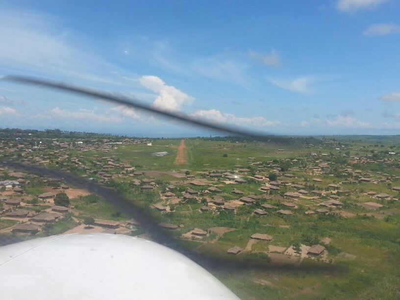View of village from plane coming in for landing
