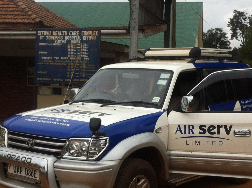 Air Serv Limited SUV at Kitovu Health Care Complex Relief Delivery